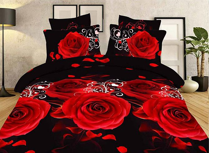 Red Roses and Petals Printing Polyester 4-Piece Duvet Cover Sets
