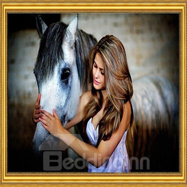 Wonderful Brunette Peting a Horse DIY Diamond Sticker