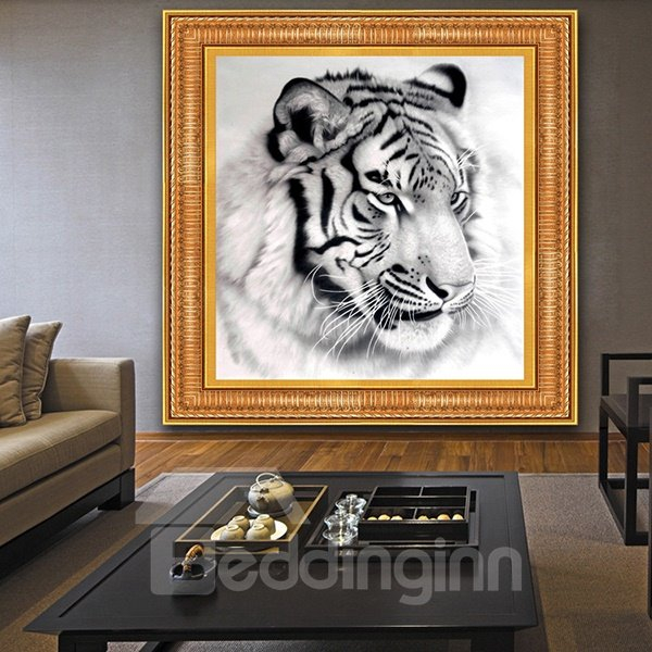 Magnificent Tiger in Black and White DIY Diamond Sticker