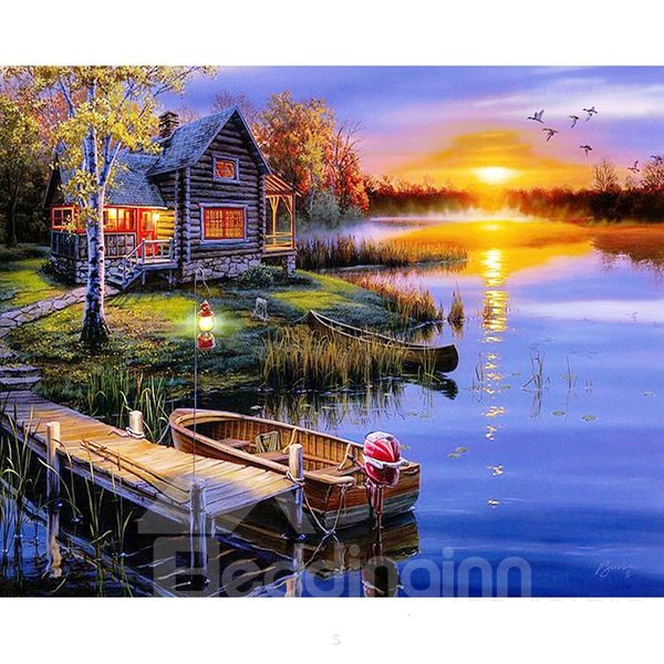 Wonderful Lake Cottage in Sunset DIY Diamond Sticker