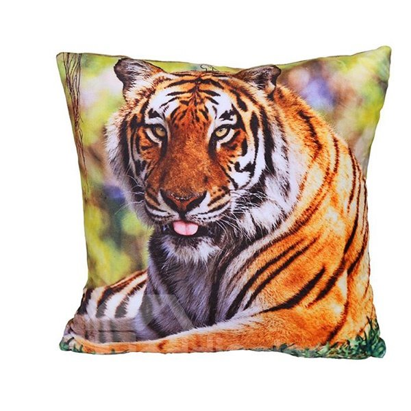 Lifelike Powerful Tiger Digital Print Plush Throw Pillow