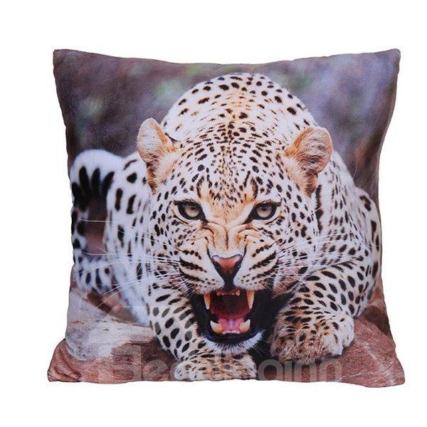 Vigorous Fierce Leopard Digital Print Plush Throw Pillow
