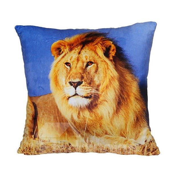 Overlooking Lion Digital Print Plush Throw Pillow