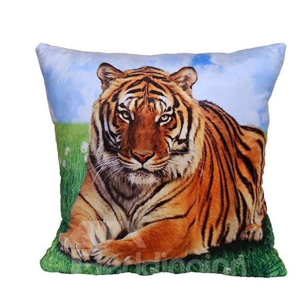 Powerful Crouched Tiger Print Plush Throw Pillow