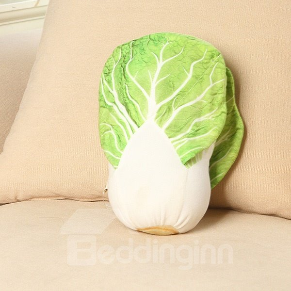 Emulational Vivid Chinese Cabbage Shape Plush Throw Pillow