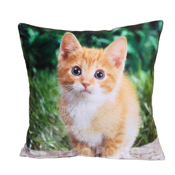 Lovely Small Cat Print Plush Throw Pillow