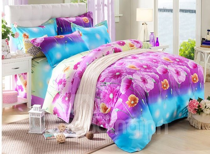 Bright Pink Floral Reactive Printing 4-Piece Cotton Duvet Cover Sets