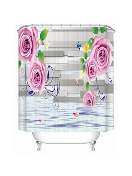 Charming Beautiful Roses and Gray Stripes 3D Shower Curtain
