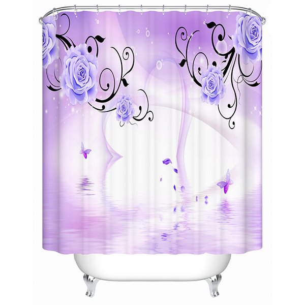 3D Heart Shape and Roses Printed Polyester Light Purple Shower Curtain