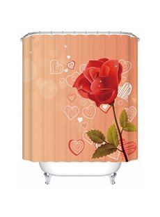 Modern Fashion Rose and Heart-shaped Pattern Orange 3D Shower Curtain