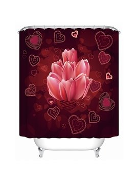 Fashion Unique Flower and Heart-shaped Pattern 3D Shower Curtain