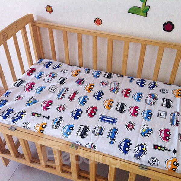 Bouncy Various Cars Pattern Baby Crib Fitted Sheet