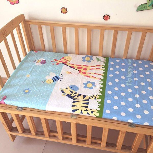 100% Cotton Zebra and Giraffe Print Baby Crib Fitted Sheet