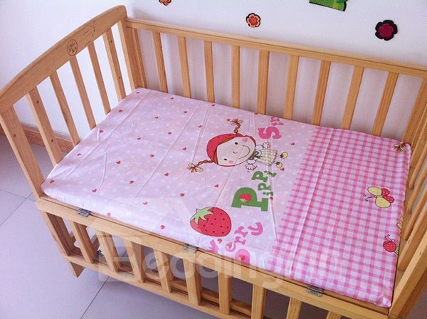 Pink Strawberry Girl Pattern Baby Crib Fitted Sheet