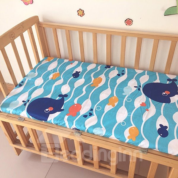 Blue Whale and Fish Pattern Baby Crib Fitted Sheet