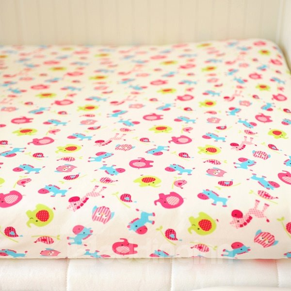 Pink Circus Animals Pattern Baby Crib Fitted Sheet
