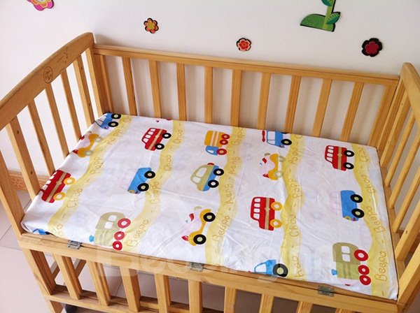 Yellow Cars Pattern 100% Cotton Baby Crib Fitted Sheet