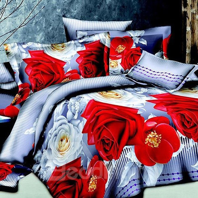 Wonderful Red and White Floral Print Polyester 4-Piece Duvet Cover Sets