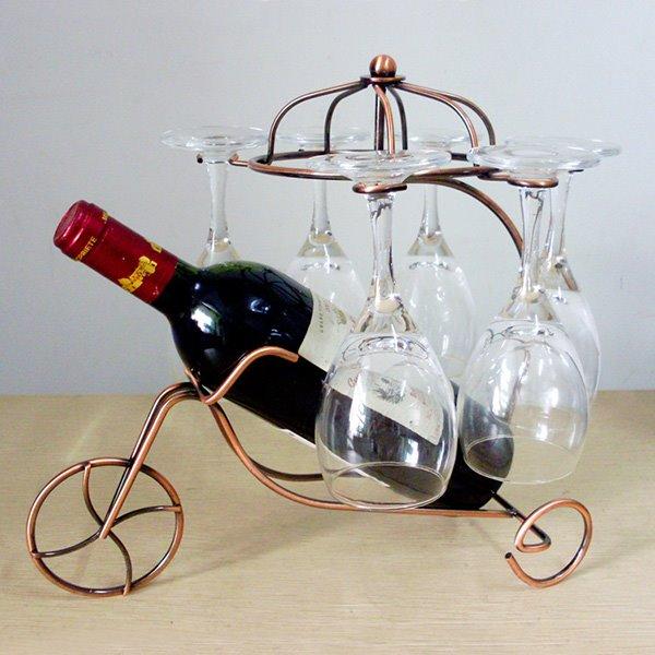 Creative Iron Three-Wheeler Design Wine Rack & Bottle Holders