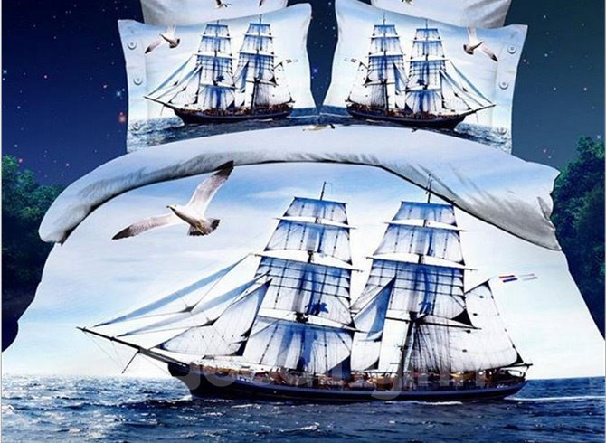 Sailing Boat and Flying Sea Gull Print 4-Piece Duvet Cover Sets