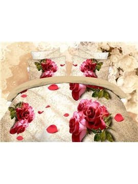 Mellow Beige 4-Piece Duvet Cover Sets with Red Floral Print