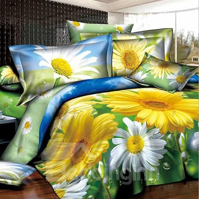 Dewy White And Yellow Daisy Print Polyester 4 Piece Duvet