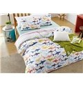 Full Size Cute Cartoon Sharks Print Cotton 4-Piece Bedding Sets/Duvet Cover