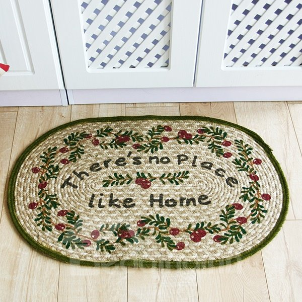 No Place Like Home Floral Pattern Hand-Made Linen Doormat