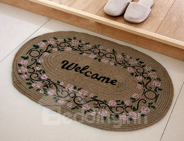 Vintage Floral Pattern Hand-Made Welcome Linen Doormat