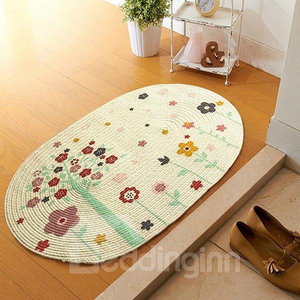 Vintage Floral Pattern Hand-Made Linen Doormat