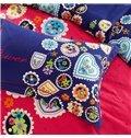 Colorful Floral Print Cotton Machine Washable 4-Piece Duvet Cover Sets