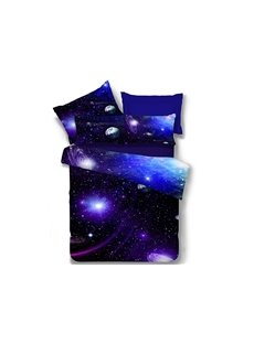 Charming Blue Galaxy Print Polyester 4-Piece Duvet Cover Sets