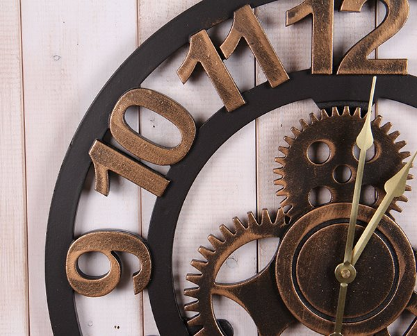 Vintage Industrial Look Gear Design Wall Clock