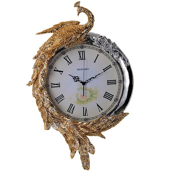 Stunning European Palace Peacock Design Wall Clock