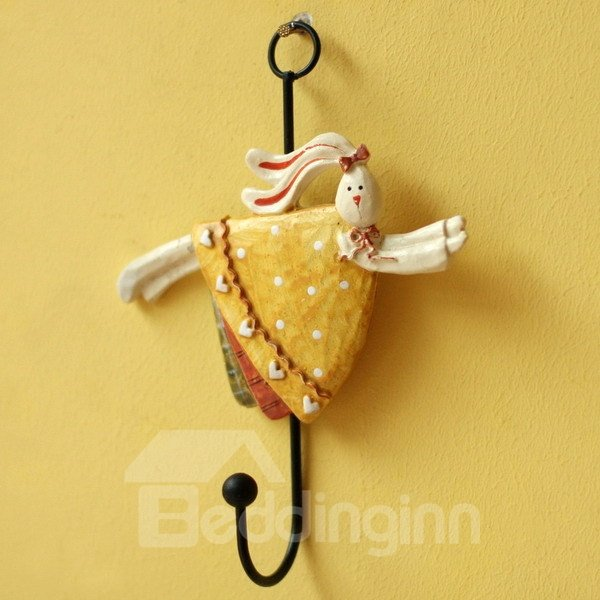 Wonderful Resin Angel Bunny Design 4-Piece Wall Hooks