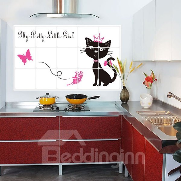 Cartoon Cat Pattern Kitchen Hearth Removable Wall Sticker