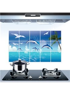 Wonderful Dolphins Rise Above Sea Water Kitchen Hearth Removable Wall Sticker