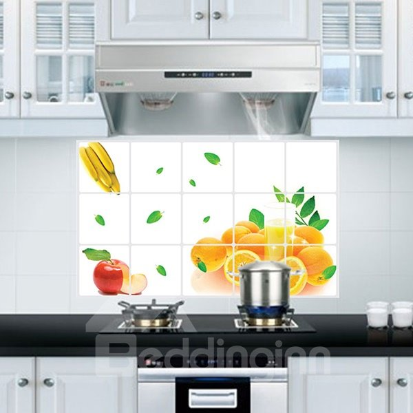 Simple Fresh Fruit Orange Pattern Kitchen Hearth Removable Wall Sticker