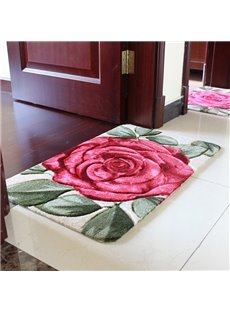 Fashion Modern Big Red Rose Print Bath Rug