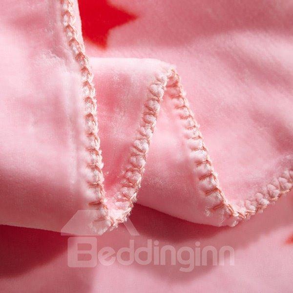 Pink Bear and Giraffe Print Baby Blanket
