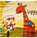 Cute Giraffe Standing Beside Colorful Tree Print Baby Blanket