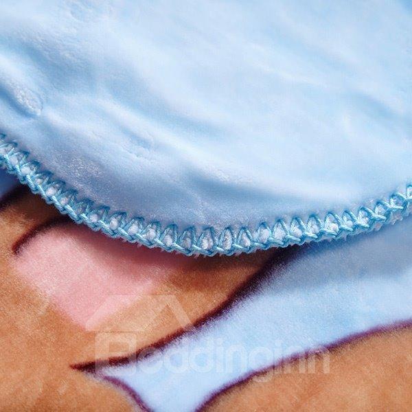 Blue Adorable Kangaroo Mother and Baby Print Blanket