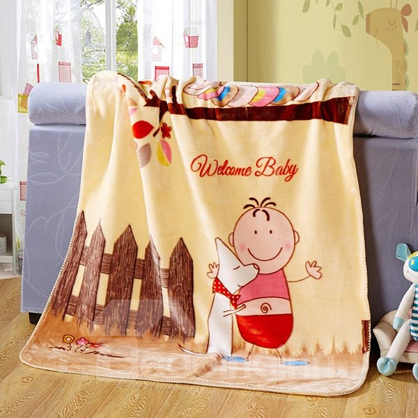 Lovely Boy and Dog Hugging Beside the Fence Print Baby Blanket