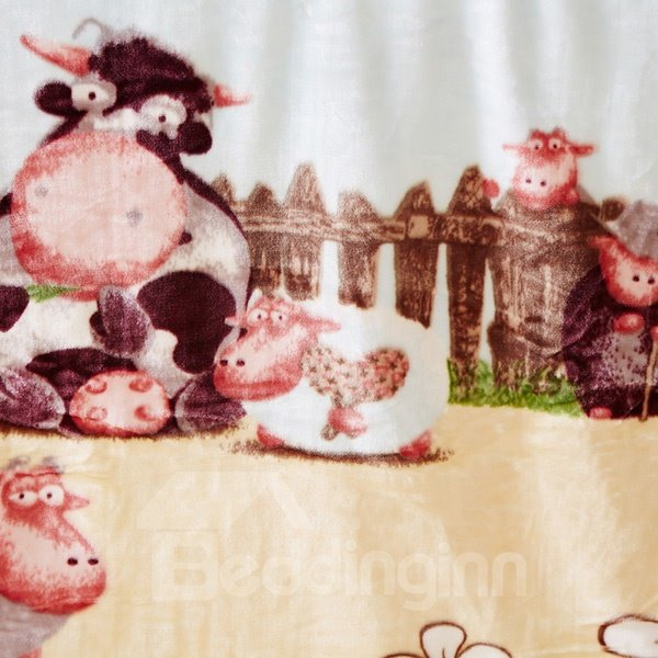 Vivid Sheep Around Fence Print Baby Blanket