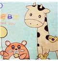 Green Adorable Giraffe and Clouds Print Baby Blanket
