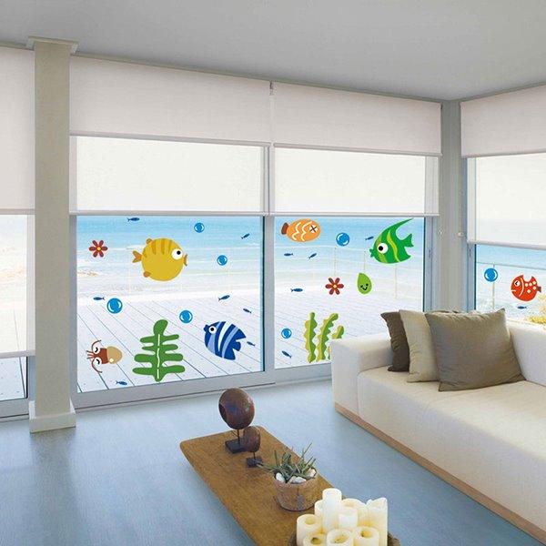Cute Cartoon Fish and Seaweeds Removable Window Glass Bathroom Wall Sticker