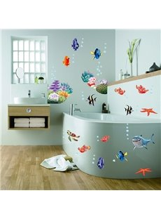 Cartoon Sea Fish Removable Window Glass Bathroom Wall Sticker