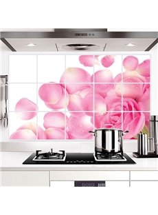 Gorgeous Pink Rose Petals Kitchen Hearth Oil-Proof Removable Wall Sticker