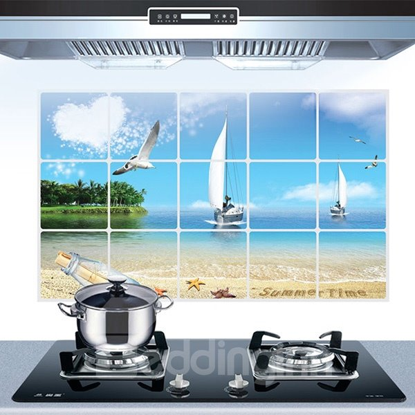 Blue Sky Beach Seagulls and Sailing Boat Kitchen Wall Sticker