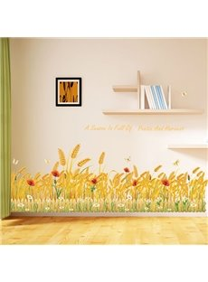 Golden Ripe Wheat Skirting Line Removable Wall Sticker 2-Sheets